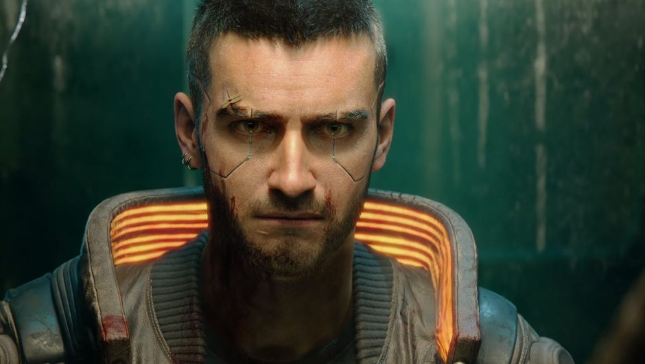 screenshot from cyberpunk 2077 trailer showing male v
