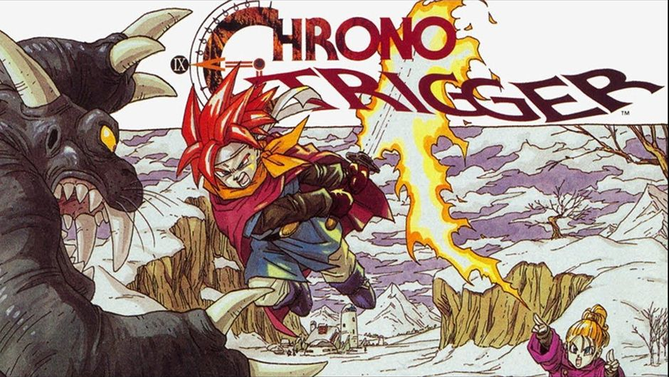 Chrono trigger's protagonist Crono fighting a dinosaur-like creature and a witch.