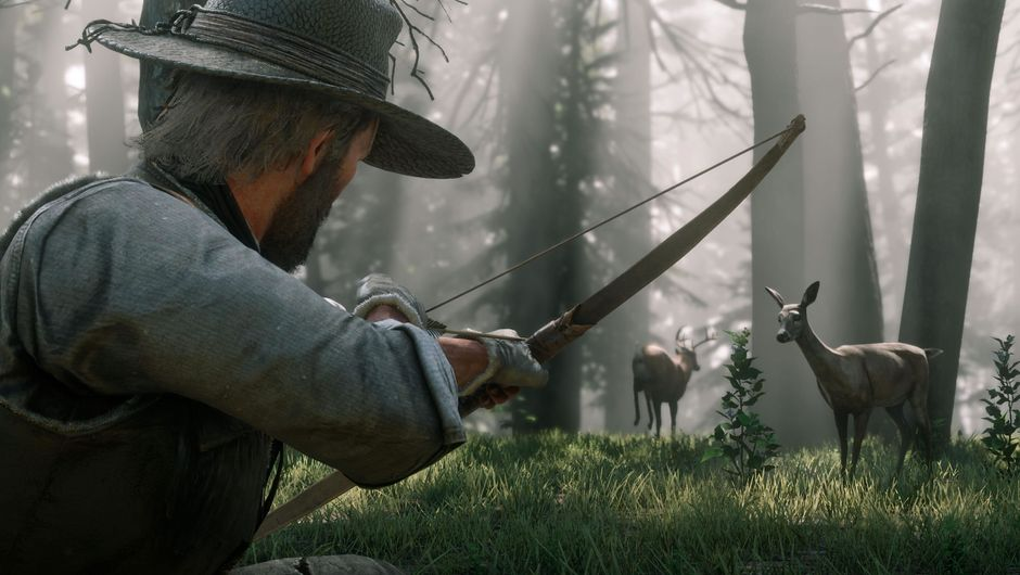 A man with a bow preying on deer in Red Dead Redemption 2