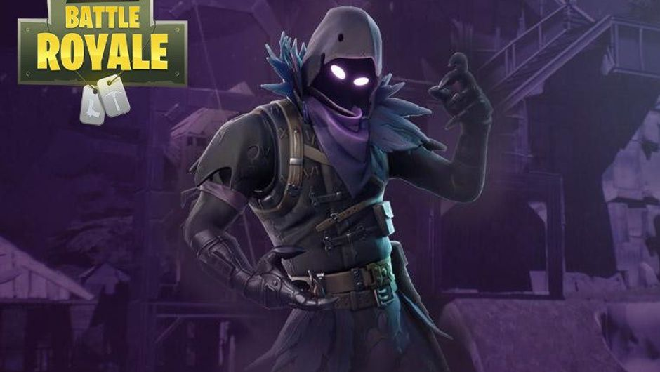 Splash art for Fortnite's Raven skin shows it as a figure in indigo outfit.