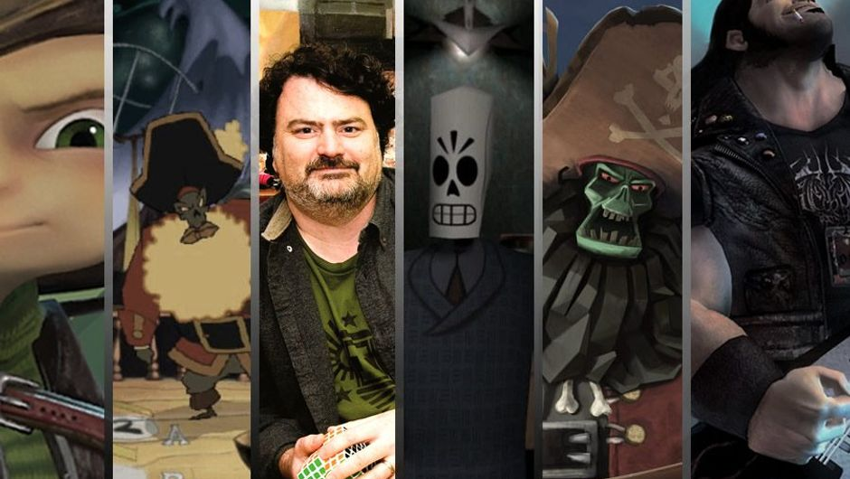 Game designer Tim Schafer next to characters he designed