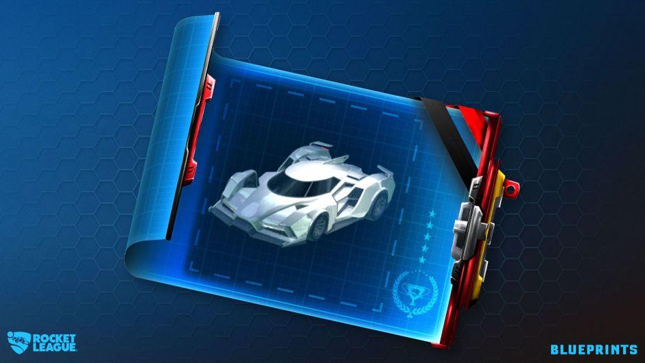 Car blueprint on a blue table