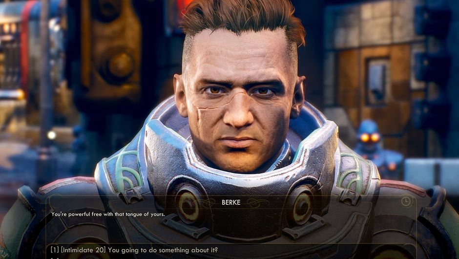 Picture of Berke dialogue options in The Outer Worlds