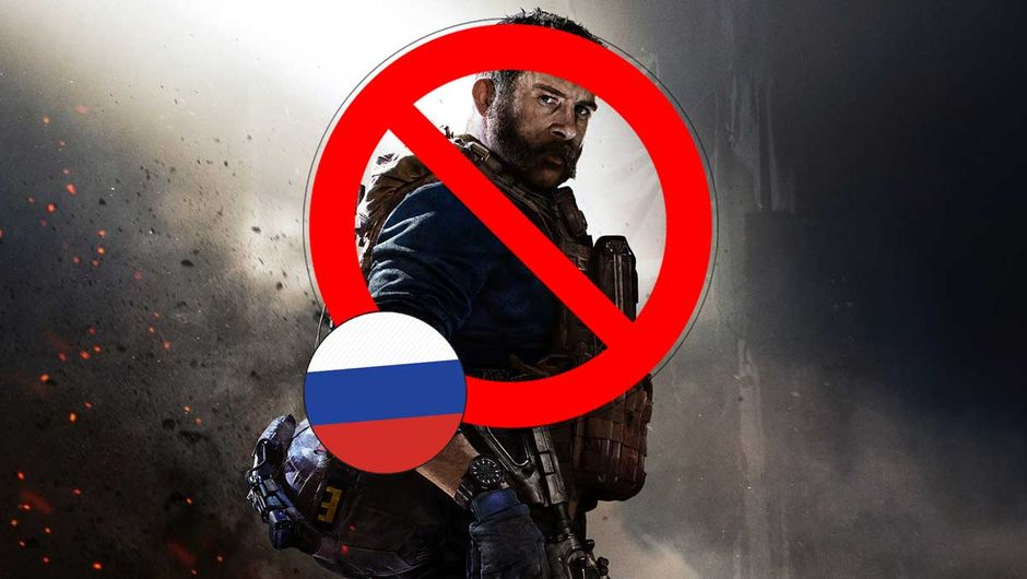 Call of Duty: Modern Warfare artwork showing banned sign and russian flag
