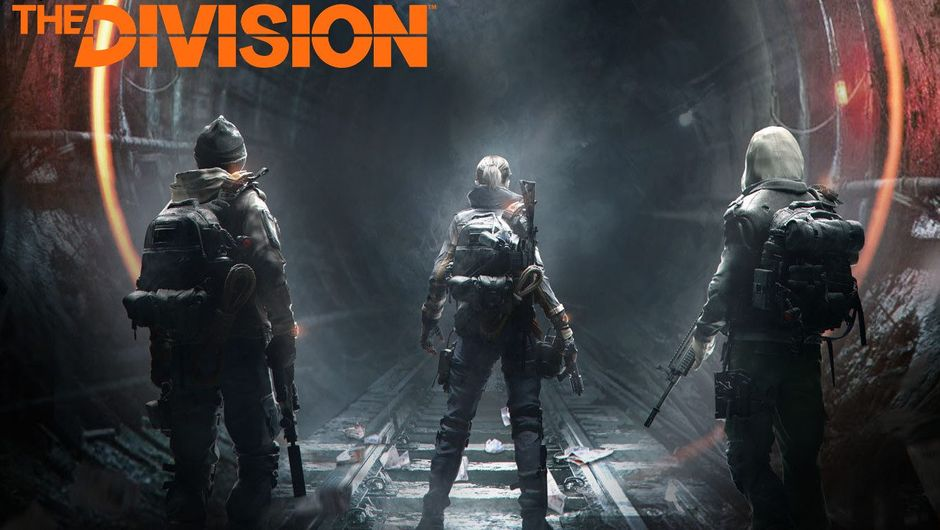 Poster for Tom Clancy's The Division showing three SHD agents about to enter a subway tunnel.