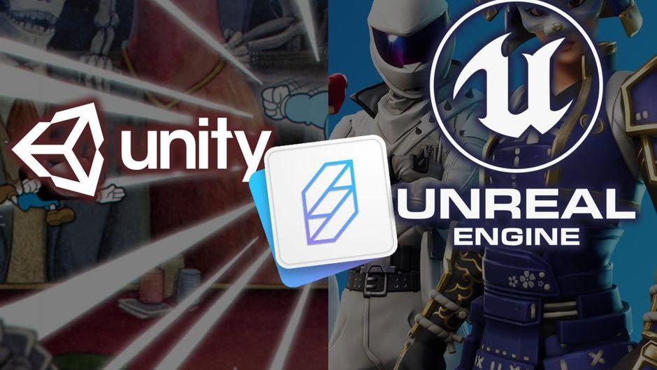 Logos of Unity, SpatialOS tech and Unreal Engine