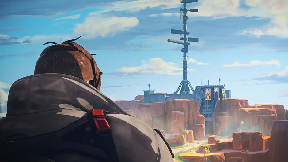 apex legends artwork showing a character looking at a structure in the distance