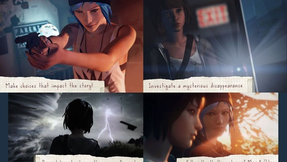 A collage made out of four images that depict Max and Chloe in Life Is Strange game fr iOS