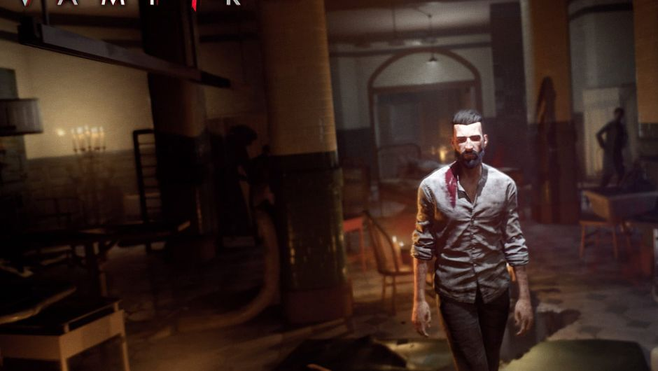 Vampyr protagonist Jonathan E. Reid is walking in a building with blood on his shirt.