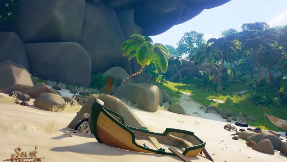 A broken wooden dinghy on a sandy beach in Sea of Thieves