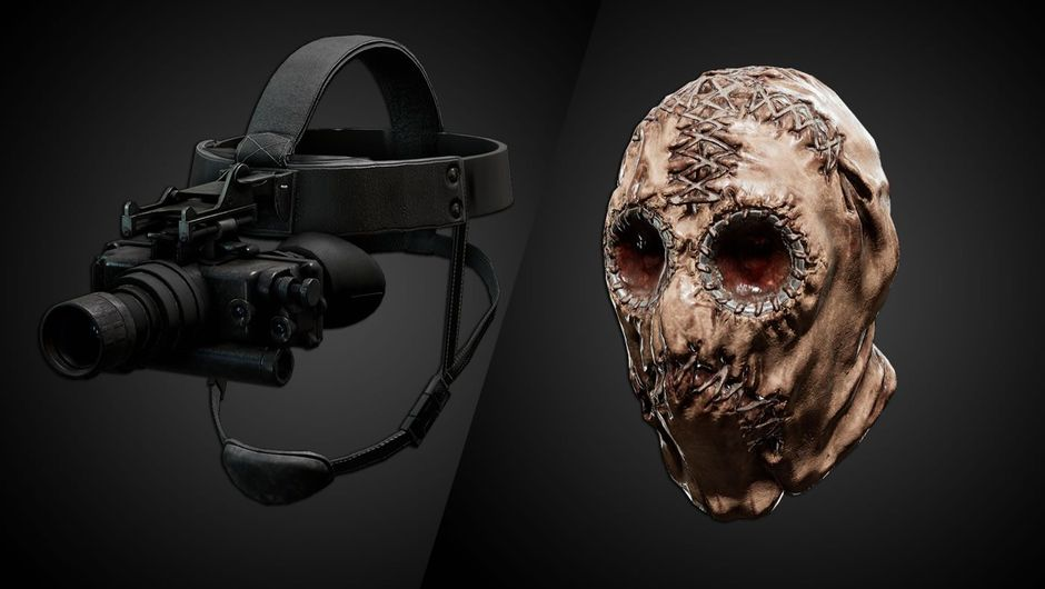 Night vision goggles and a ragged mask from the game SCUM