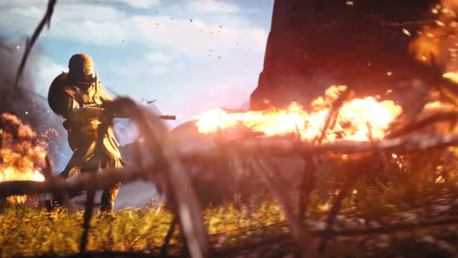 A soldier with a flamethrower in Battlefield 1