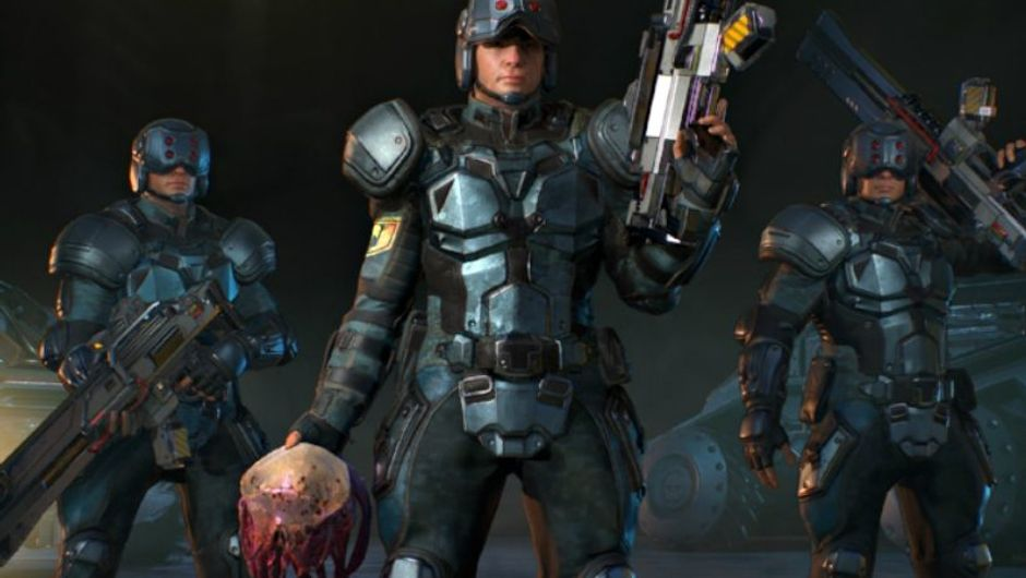 Screenshot from Phoenix Point showing three soldiers in heavy armour. One of them is carrying a severed alien head.