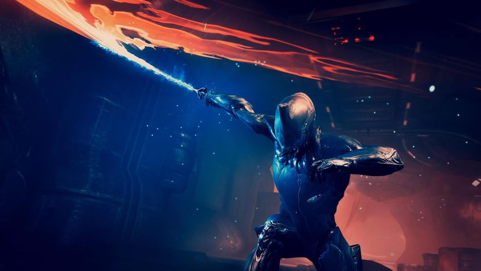 Warframe character swinging a sword of fire