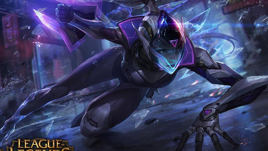 Splash art for the legendary Project Vayne in League of Legends, a futuristic bodysuit in purple shades.