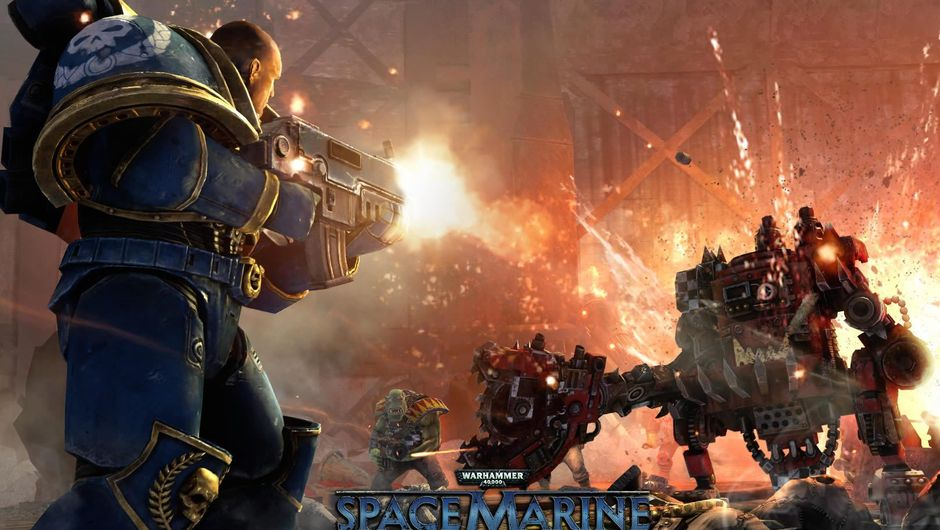 A space marine shooting in Warhammer 40,000: Space Marine
