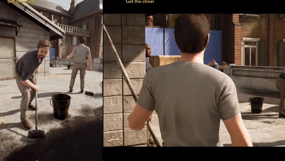 Leo and Vincent from A Way Out in the prison courtyard