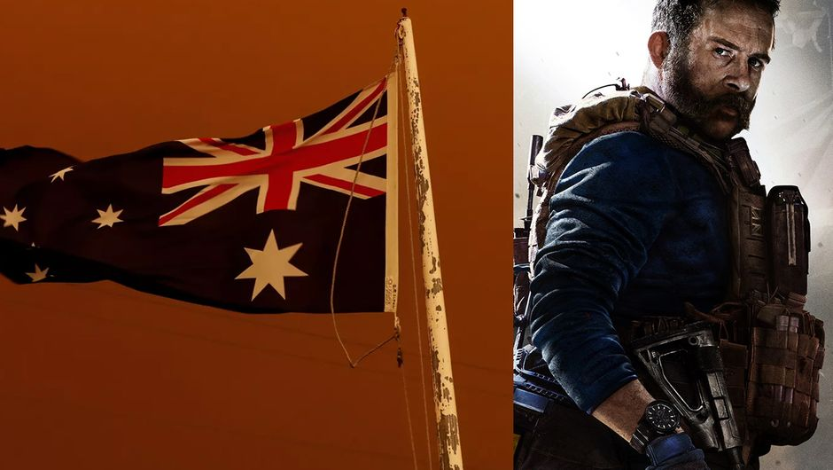 artwork showing captain price and australian flag