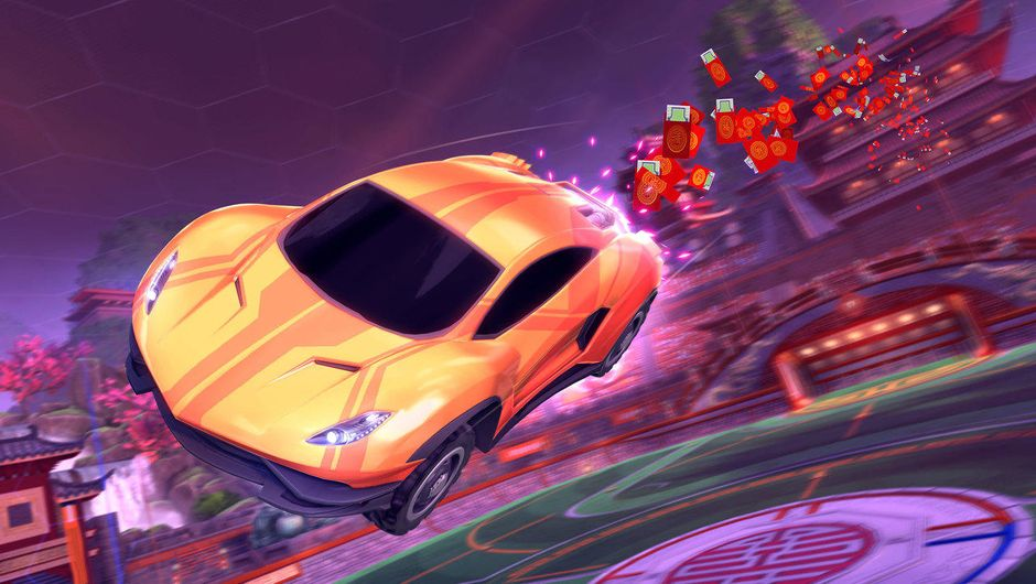 Rocket League vehicle with Red Envelopes Boost