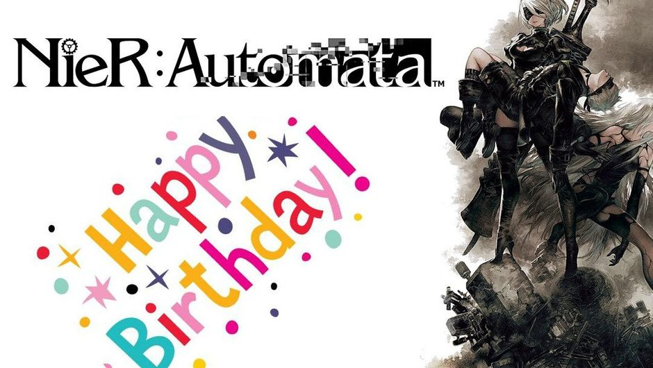 NieR: Automata promotional screen with a Happy Birthday card slapped over it.