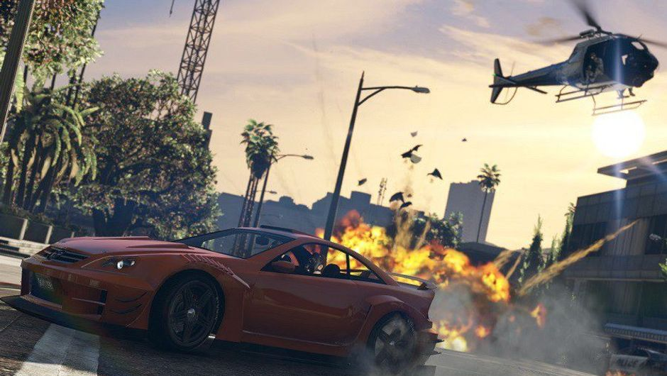 screenshot from GTA V showing a car and a helicopter and an explosion