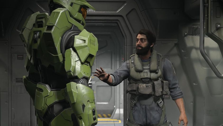 Master Chief standing next to another Halo Infinite character