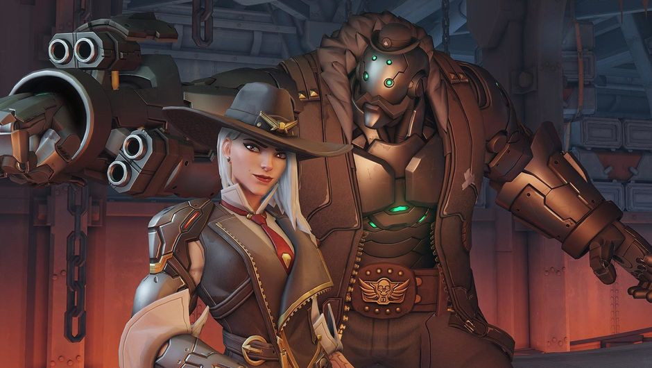 Picture of Ashe and B.O.B in Overwatch's promotional material