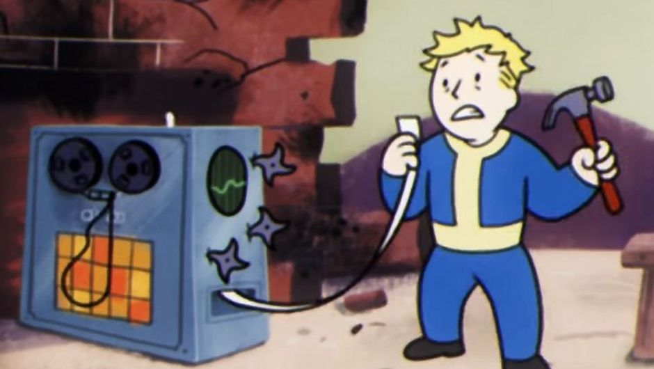Picture showing charachter from Fallout 76 fixing his PC