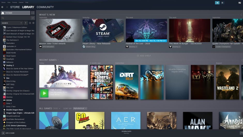 Steam's new library is pretty but lacks some features