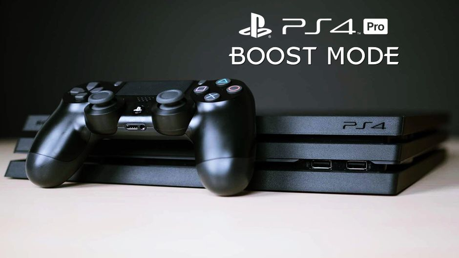"Image of PS4 Pro and a joystick with ""boost mode"" text written above."