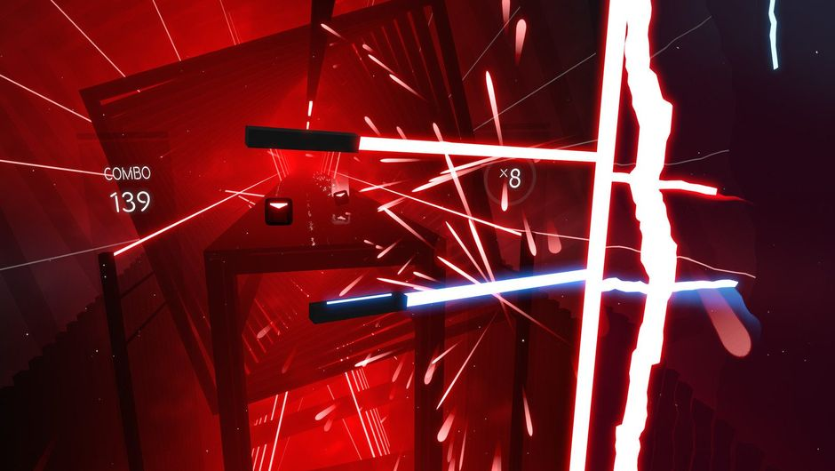 Screenshot from Beat Saber showing stuff in red and blue colours