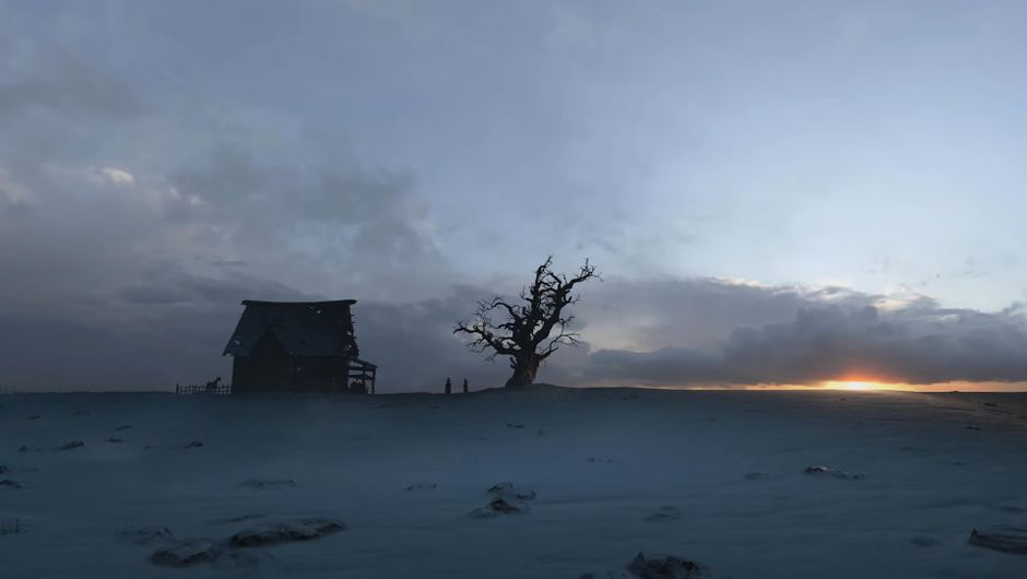 A shack and a tree against a horizon in Diablo IV