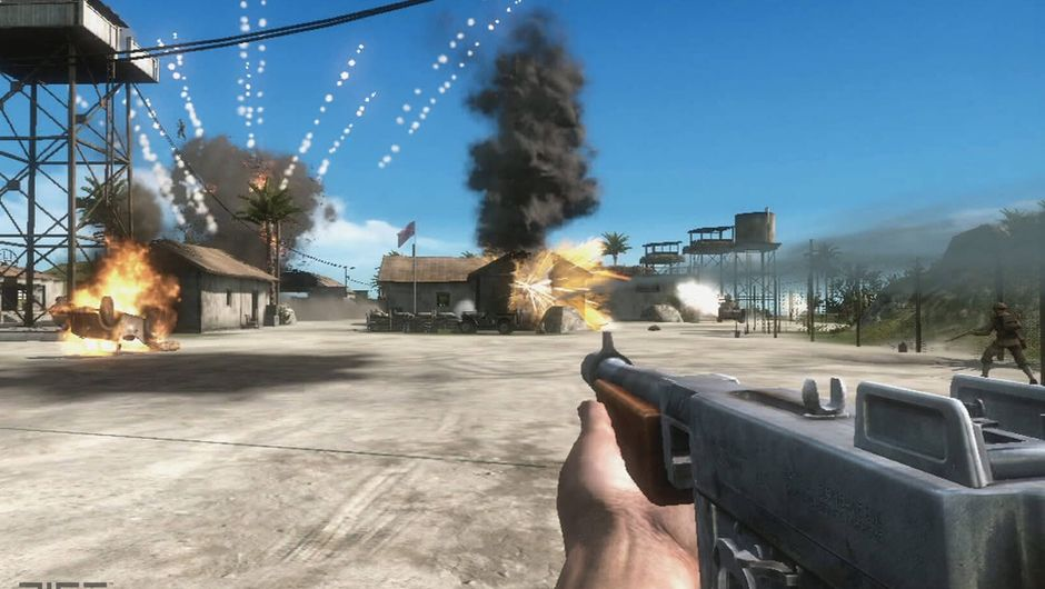 Screenshot from Battlefield 1943 showing a soldier carrying a Thompson submachine gun on the battlefield.