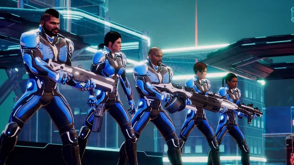 picture showing five futuristic soldiers in neon city