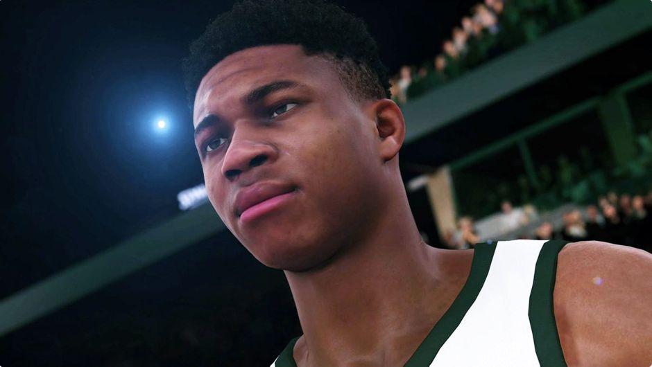NBA 2K18 screenshot showing Milwaukee Bucks' superstar Giannis Antetokounmpo.
