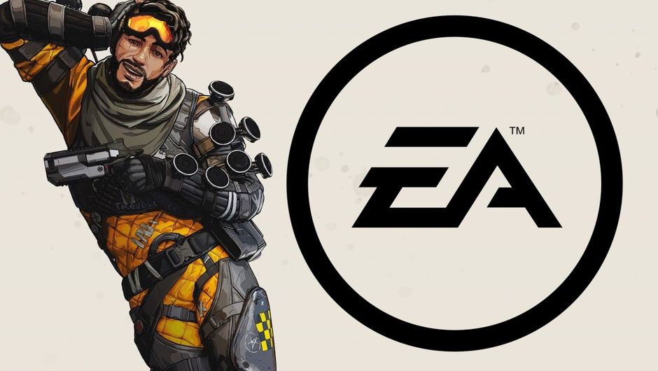 Composite of Apex Legends bamboozler next to an overgrown EA logo