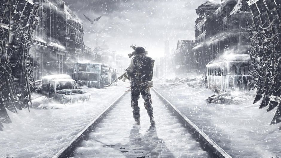 A lonesome soldier walking on railroad in a frozen town