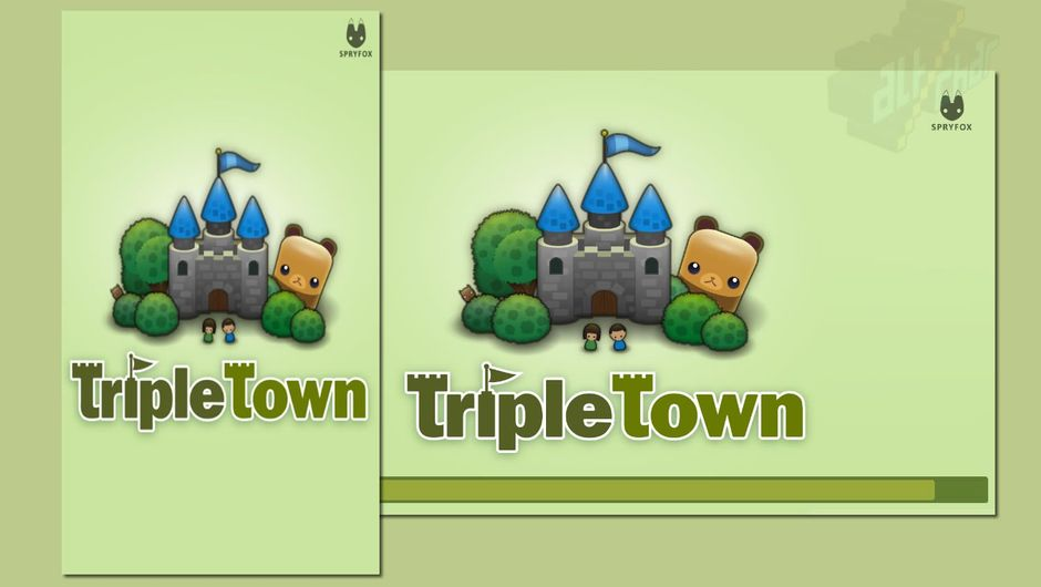 Puzzle game Triple Town in two different display modes