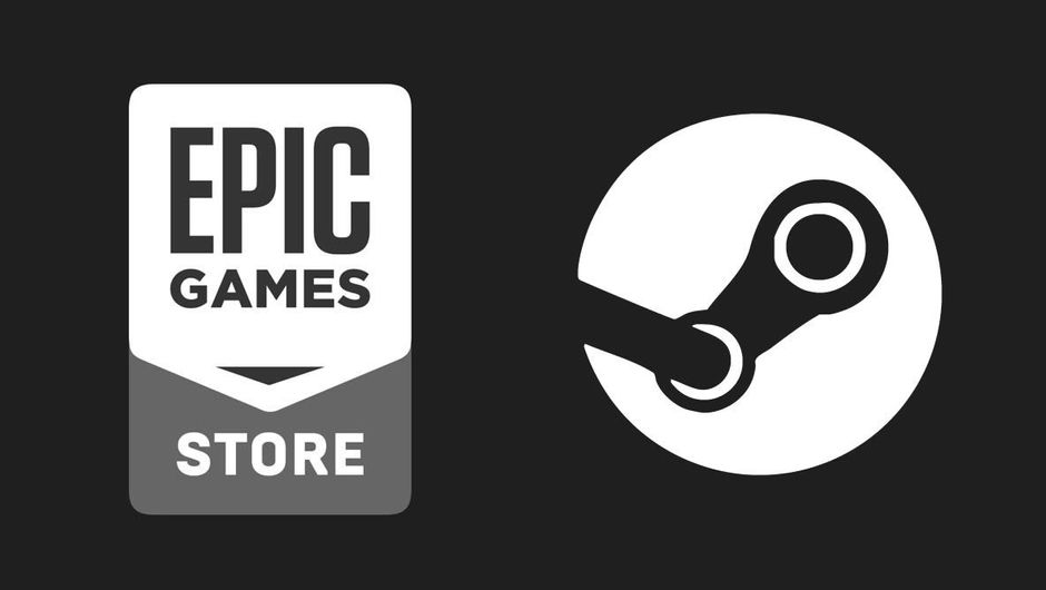 Logos of the Epic Games Store and Steam