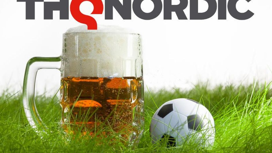 Beer mug is standing next to a ball with THQ Nordic written above them.