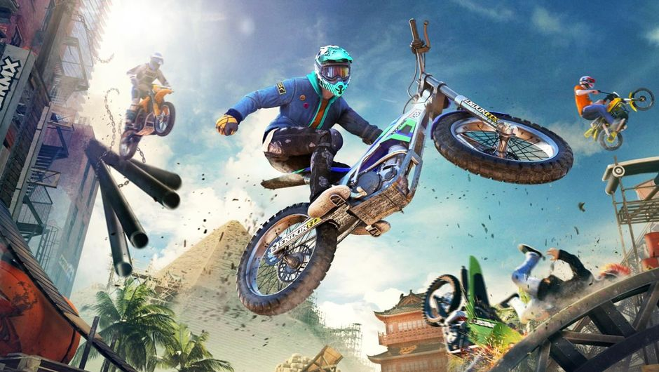 Trials rising promotional image ofo motorbike dudes flying, jumping and crashing