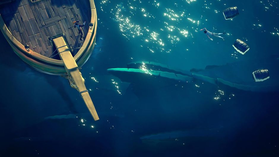 Top-down view of a pirate swimming towards a ship in Sea of Thieves
