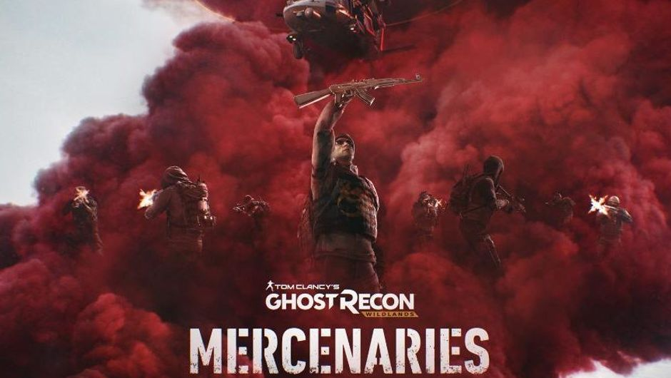 Ghost Recon Wildlands artwork showing red smoke, several characters with guns and a helicopter