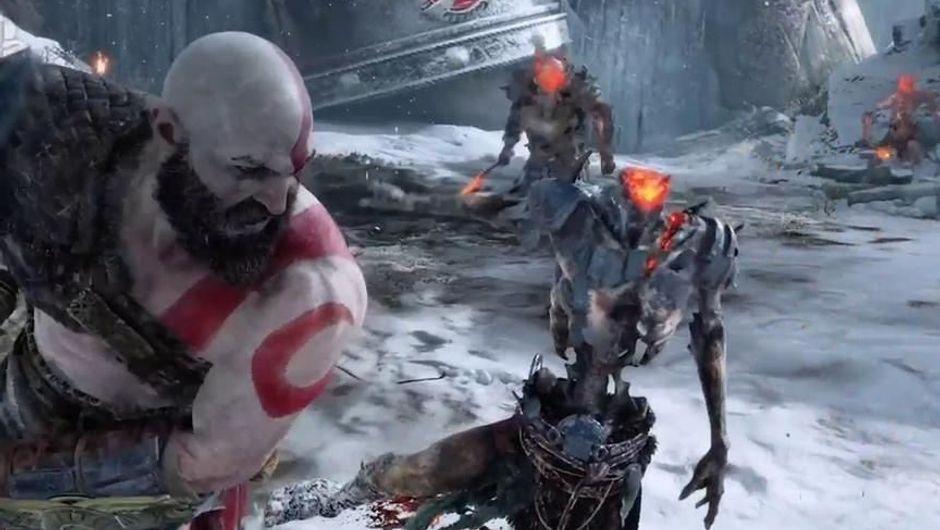 Kratos killing a skeleton