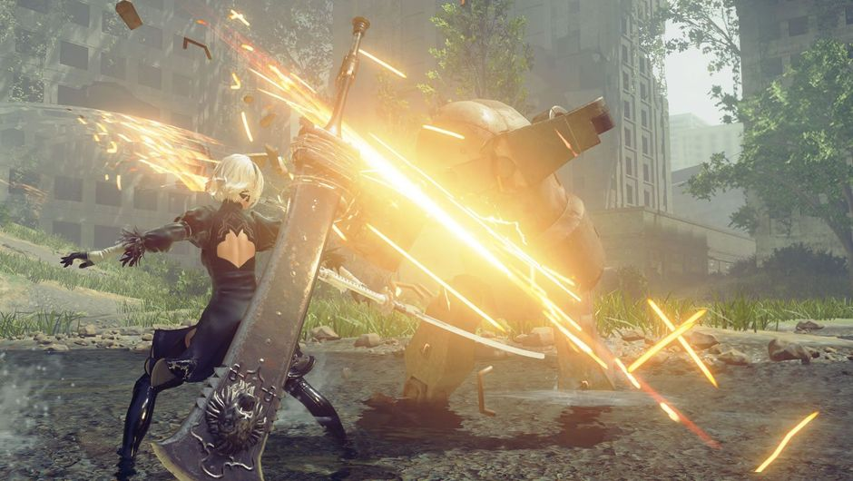 A woman fighting a creature with huge sparks flying off her weapon