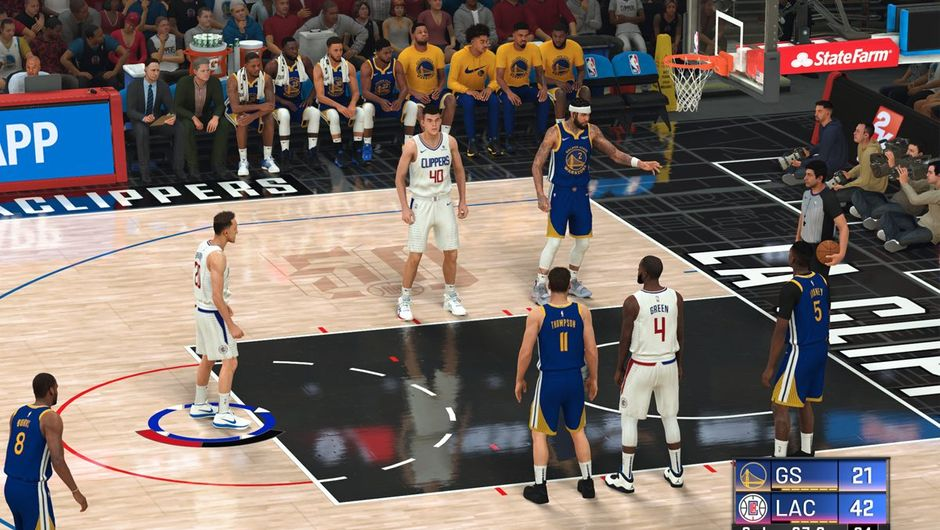NBA 2K20 screenshot showing a player shooting a free throw