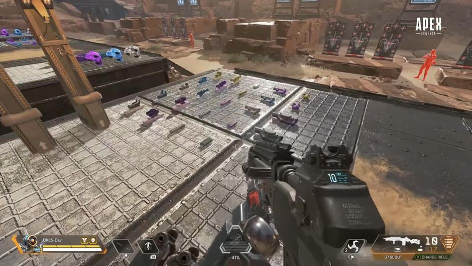 A first-person view of a firing range in Apex Legends