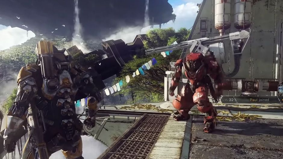 Anthem trailer screenshot of robot guy falling from the sky.