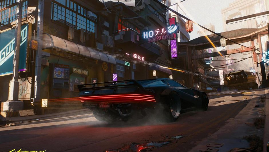 A modern vehicle in CD Project Red's game Cyberpunk 2077