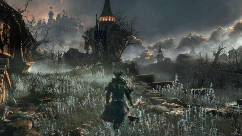 picture showing charachter from bloodborne walking towards a lighthouse